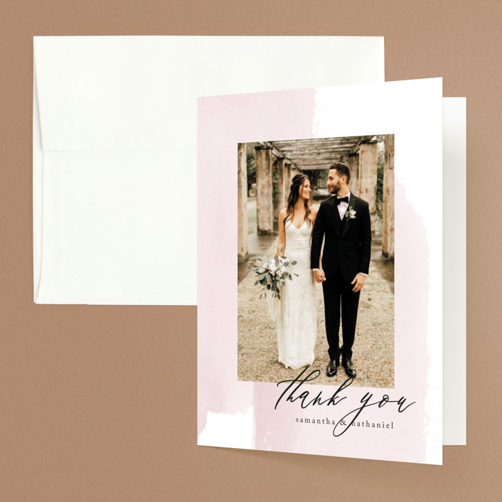 """Painterly"" - Folded Thank You Card in Blush by Kelly Schmidt."