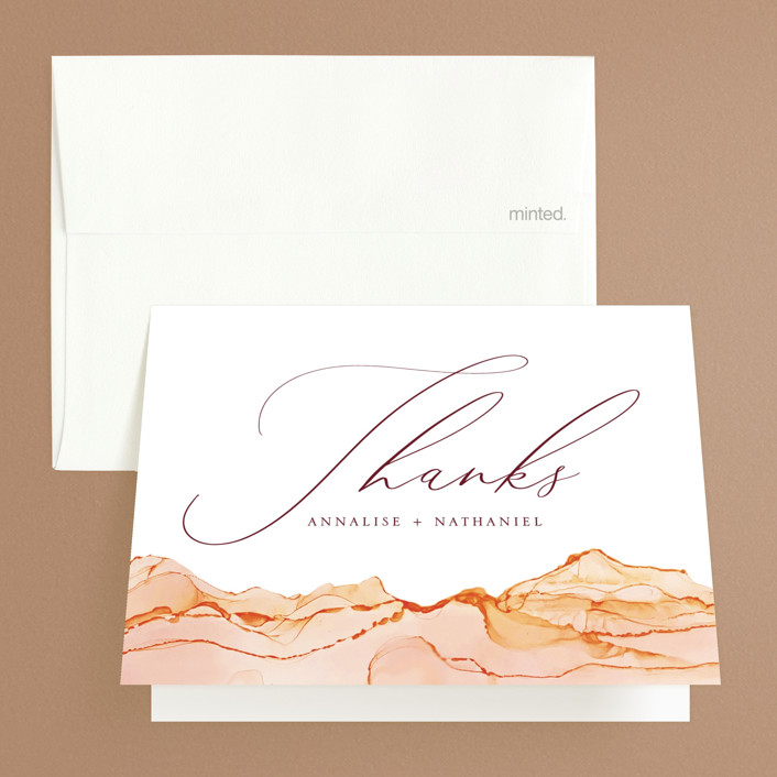 """Sandstone"" - Folded Thank You Card in Topaz by Erin Deegan."