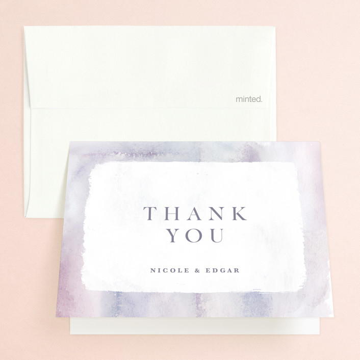 """Lavender Fields"" - Folded Thank You Card in Lavender by Hooray Creative."
