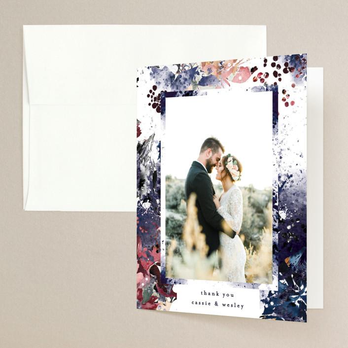 """Floral Cascade"" - Folded Thank You Card in Navy by Phrosne Ras."