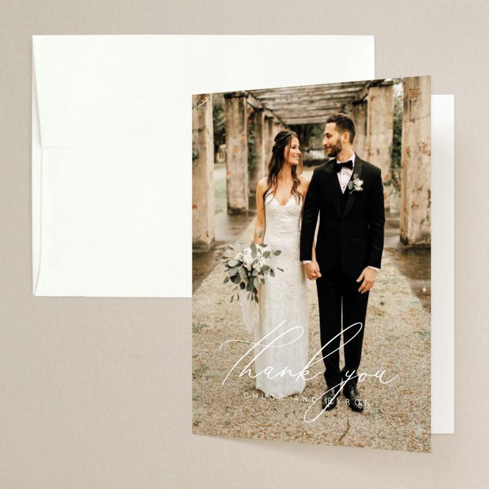 """chloe "" - Folded Thank You Card in Silk by Kelly Schmidt."
