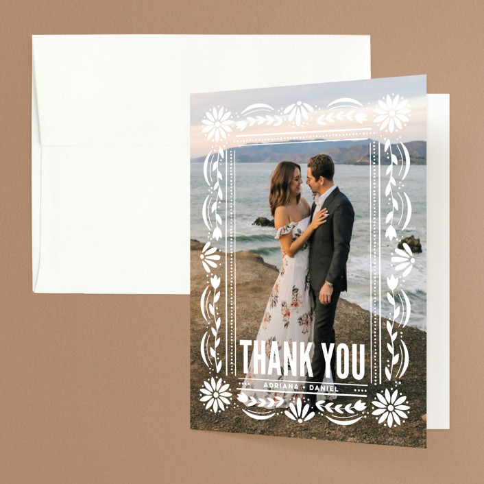 """""""Pretty Picado"""" - Folded Thank You Card in Sunshine by Jessie Steury."""