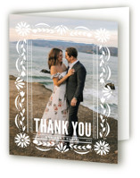 This is a yellow wedding thank you card by Jessie Steury called Pretty Picado with standard printing on strathmore in standard.