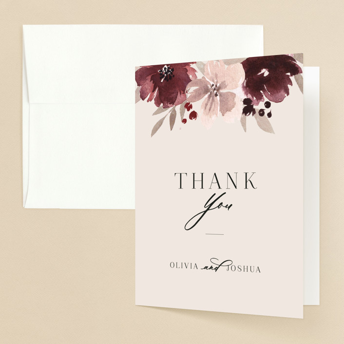 """Emyn"" - Folded Thank You Card in Burgundy by Itsy Belle Studio."