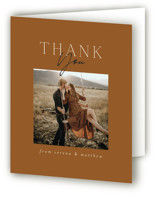 This is a brown wedding thank you card by Morgan Kendall called Modern Traditionalist with standard printing on strathmore in standard.