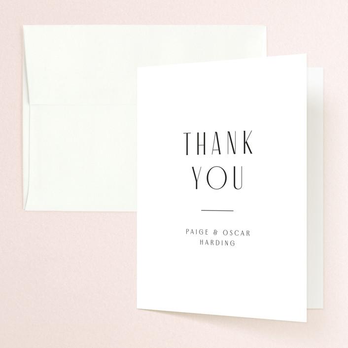 """Arcadia"" - Folded Thank You Card in Onyx by Jennifer Wick."