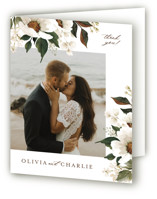 This is a beige wedding thank you card by Chris Griffith called A Garden Wedding with standard printing on strathmore in standard.