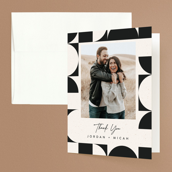 """Kenai"" - Modern Folded Thank You Card in Shadow by Carly Reed Walker."