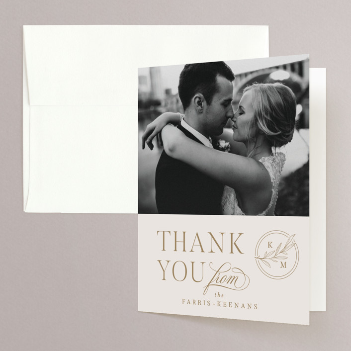 """""""Emblem"""" - Folded Thank You Card in Champagne by Everett Paper Goods."""