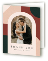 This is a green wedding thank you card by Jen Banks of Ink and Letter called Archway with standard printing on strathmore in standard.