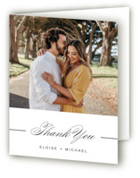 This is a white wedding thank you card by Olivia Raufman called Of Note with standard printing on strathmore in standard.