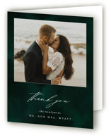 This is a green wedding thank you card by Andrea Castek called emerald with standard printing on strathmore in standard.