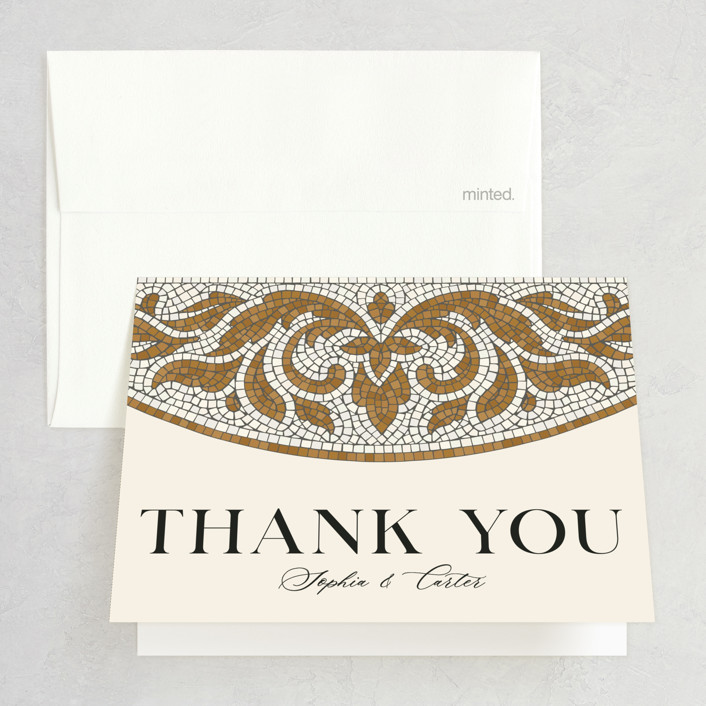 """""""Floral mosaic"""" - Vintage Folded Thank You Card in Sand by GeekInk Design."""
