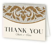 This is a brown wedding thank you card by GeekInk Design called Floral mosaic with standard printing on strathmore in standard.