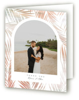 This is a white wedding thank you card by Owl and Toad called Painted Leaves with standard printing on strathmore in standard.