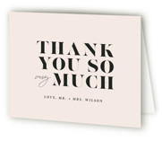 This is a beige wedding thank you card by Up Up Creative called Finally with standard printing on strathmore in standard.