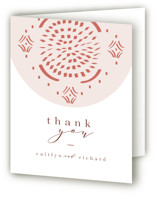 This is a pink wedding thank you card by Kanika Mathur called Terracotta with standard printing on strathmore in standard.