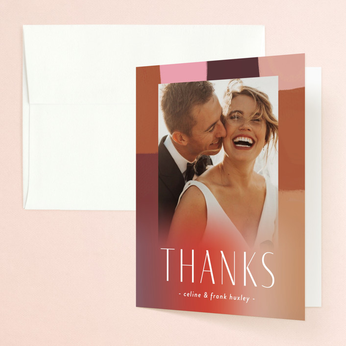 """""""Retro Grid"""" - Modern Folded Thank You Card in Sunset by Simona Camp."""