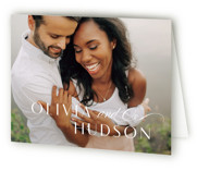 This is a black wedding thank you card by Lauren Chism called Plaza with standard printing on strathmore in standard.