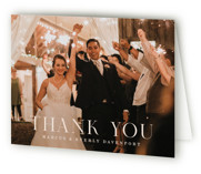 This is a pink wedding thank you card by Hooray Creative called Everly with standard printing on strathmore in standard.