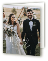 This is a blue wedding thank you card by Kelly Schmidt called Layered with standard printing on strathmore in standard.