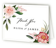 This is a pink wedding thank you card by Susan Moyal called Blossom with standard printing on strathmore in standard.