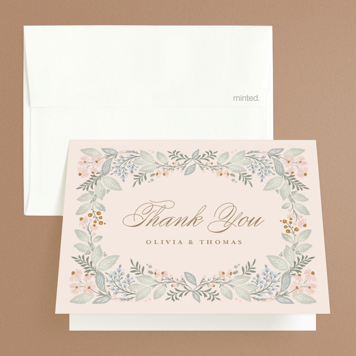 """""""Wild Flora"""" - Folded Thank You Card in Blossom by Kristen Smith."""