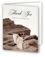 This is a white wedding thank you card by chocomocacino called Blancmange with standard printing on strathmore in standard.