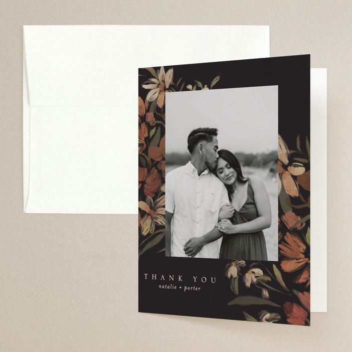 """Fall Garden Bouquet"" - Folded Thank You Card in Rust by Grace Kreinbrink."