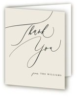 This is a white wedding thank you card by Hannah Williams called Tilted Script with standard printing on strathmore in standard.