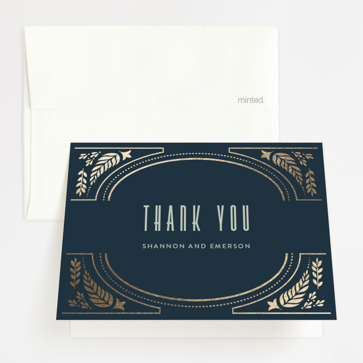 """""""Gilded Love"""" - Foil-pressed Thank You Cards in Navy by Ana de Sousa."""