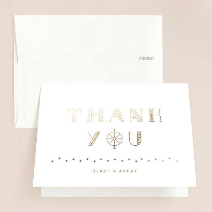 """Gilded Celebration"" - Modern Foil-pressed Thank You Cards in Frosted Gold by curiouszhi design."