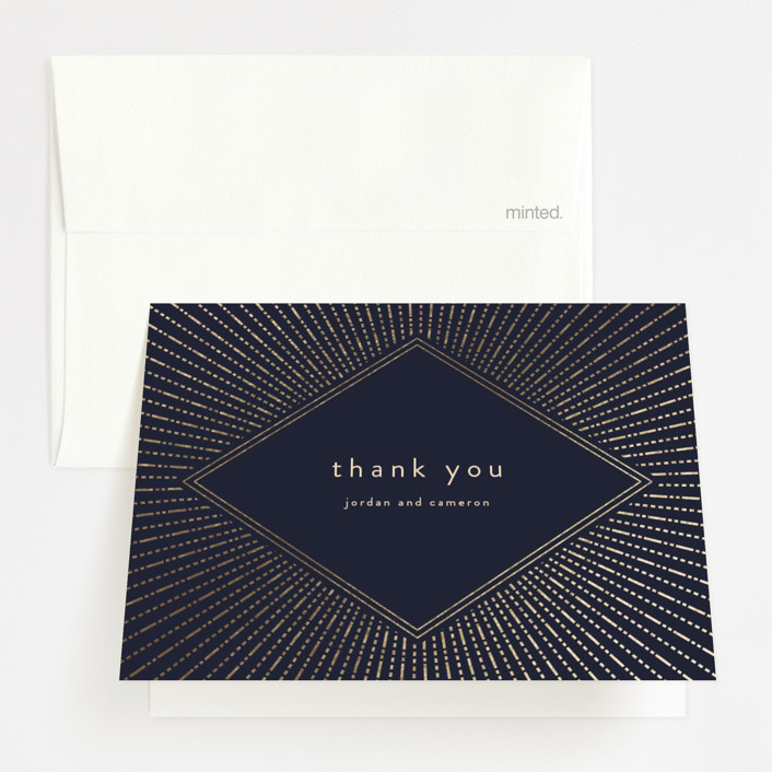"""""""Apache"""" - Vintage Foil-pressed Folded Thank You Card in Navy by Annie Montgomery."""