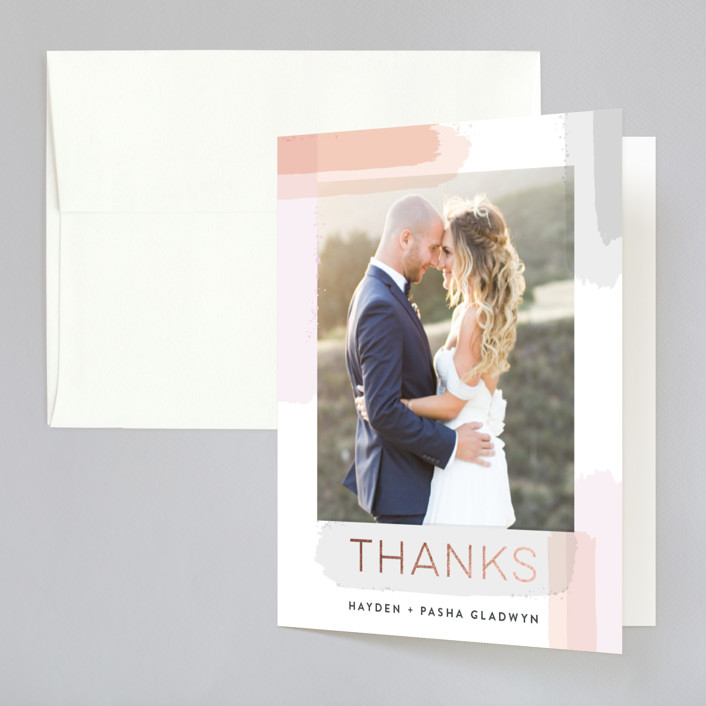"""""""Artistic Border"""" - Foil-pressed Thank You Cards in Peach by Hooray Creative."""