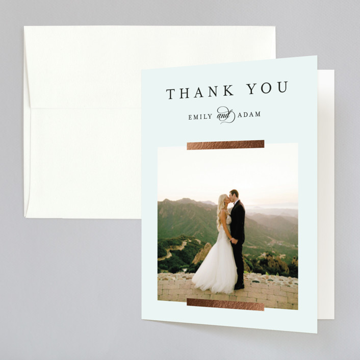"""""""Classic Bars"""" - Foil-pressed Folded Thank You Card in Sky by Kasia Labocki."""