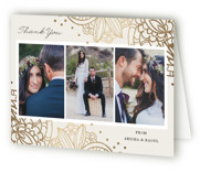 This is a beige wedding thank you card by Oma N. Ramkhelawan called Elegant Henna with foil-pressed printing on strathmore in standard.
