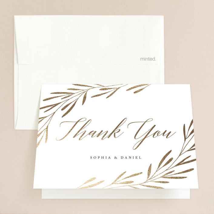"""Gilded Leaves"" - Monogram Foil-pressed Thank You Cards in Classic White by Kelly Schmidt."