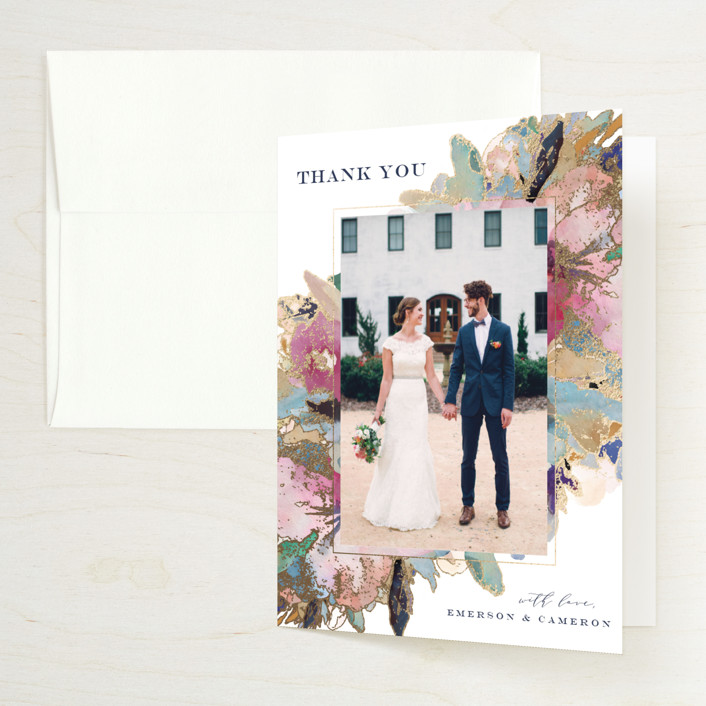 """Gilded Drape"" - Foil-pressed Folded Thank You Card in Fruitcake by Grace Kreinbrink."