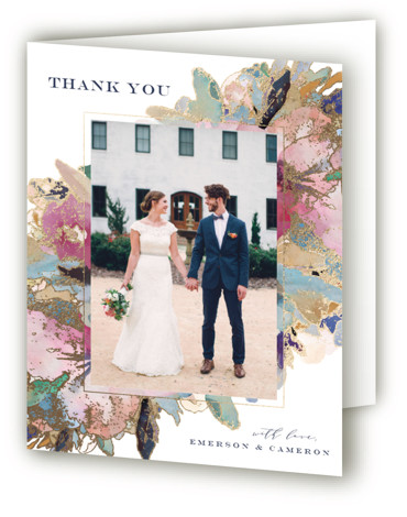 This is a blue, pink Wedding Thank You Cards by Grace Kreinbrink called Gilded Drape with Foil Pressed printing on Standard Cover in minibook fold over (blank inside) format. Hand painted watercolor wedding invitation featuring modern florals and gilded accents. ...