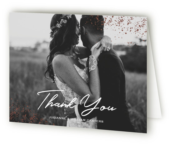 This is a modern, painterly, brown, purple, rosegold Wedding Thank You Cards by Juliana Zimmermann called Paint Splash with Foil Pressed printing on Standard Cover in minibook fold over (blank inside) format. This wedding invitation features a rose gold paint ...