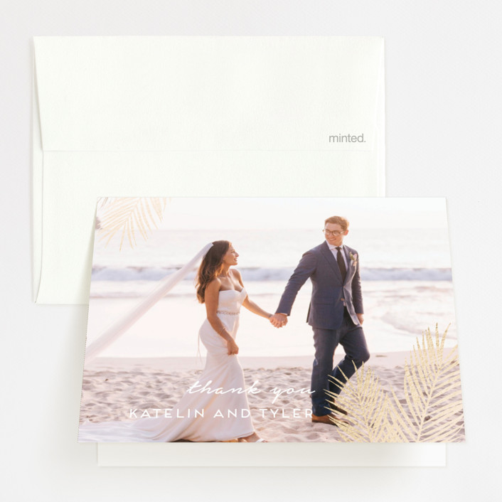 """""""Sea Crest"""" - Modern Foil-pressed Thank You Cards in Turquoise by Kaydi Bishop."""