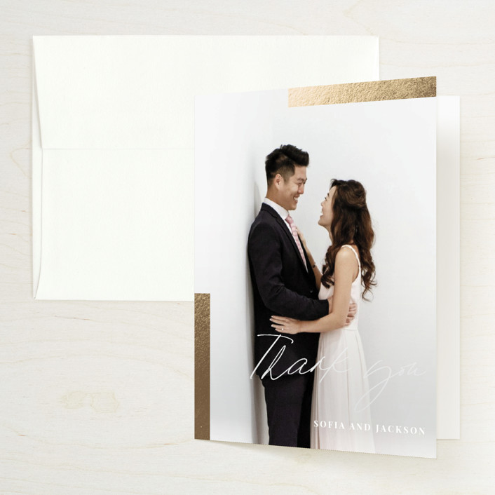 """""""Hand notes"""" - Foil-pressed Folded Thank You Card in Cream by Yaling Hou Suzuki."""