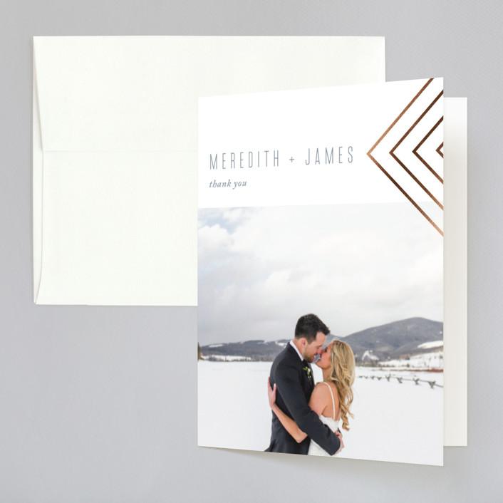 """Arrow"" - Vintage Foil-pressed Folded Thank You Card in Slate by Erin German Design."