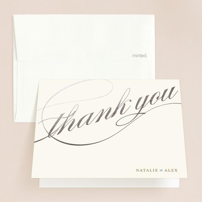 """Winter Flourish"" - Elegant, Formal Foil-pressed Folded Thank You Card in Robin's Egg Blue by annie clark."