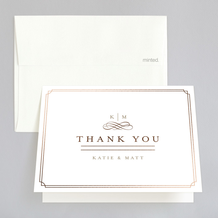 """""""A Glamorous Affair"""" - Monogrammed, Elegant Foil-pressed Folded Thank You Card in Gold by Kristen Smith."""