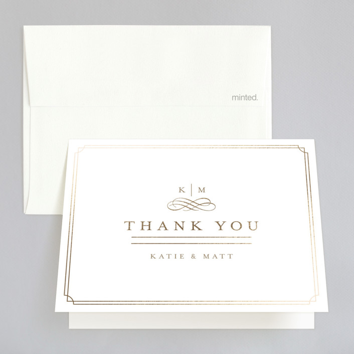 """A Glamorous Affair"" - Monogrammed, Elegant Foil-pressed Thank You Cards in Gold by Kristen Smith."