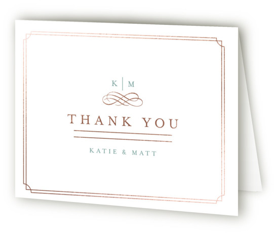 This is a landscape classical, elegant, formal, monogrammed, preppy, green Wedding Thank You Cards by Kristen Smith called A Glamorous Affair with Foil Pressed printing on Standard Cover in minibook fold over (blank inside) format. A perfect invite for a ...