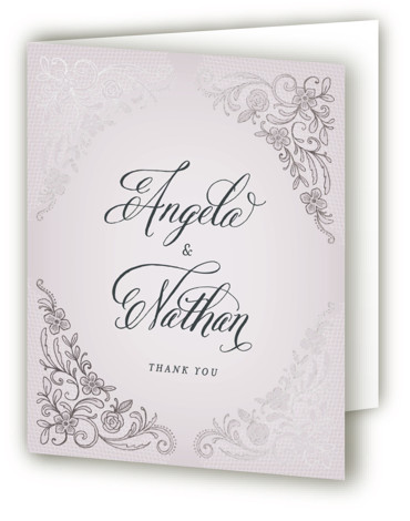 This is a portrait classical, elegant, floral, formal, vintage, purple Wedding Thank You Cards by Hooray Creative called Elegant Lace with Foil Pressed printing on Standard Cover in minibook fold over (blank inside) format. Beautiful, elegant type with embroidered lace ...