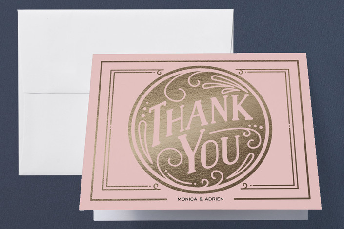 """""""Romantic Revelry"""" - Bold typographic, Vintage Foil-pressed Thank You Cards in Blush by GeekInk Design."""