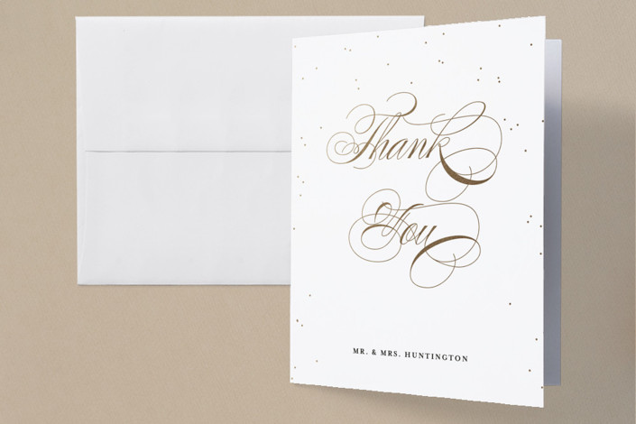 """Oh Happy Day"" - Foil-pressed Thank You Cards in Gold by Design Lotus."